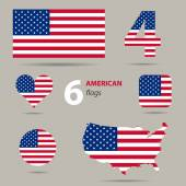 Collection of American flags in different shapes — Stock Vector