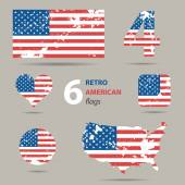 Collection of retro American flags in different shapes — Stock Vector