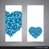 Two vertical Valentine banners, back and front side — 图库矢量图片