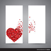 Two vertical Valentine banners, back and front side — Vector de stock
