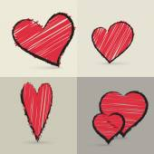 Collection of hand drawed hearts — Vector de stock