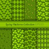 Collection of St. Patrick's Day themed seamless patterns — Stock Vector
