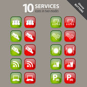 Glossy buttons - services - in two modes — Stockvector