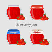 Collections of jars with strawberry marmalade — Stock Vector