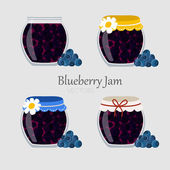 Collections of jars with blueberry marmalade — Stock Vector