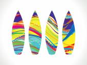 Abstract colorful rainbow surf board — Stock Vector