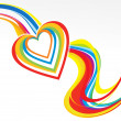 Abstract colorful rainbow wave with heart — Stock Vector #75132071