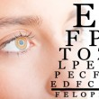 Close up of Womans Face With Eye Chart — Stock Photo #68000009