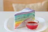 Rainbow crepe cake — Stock Photo