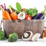 Harvest vegetables in wooden basket — Stock Photo #53284003