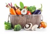 Harvest vegetables in wooden basket — Stok fotoğraf