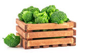 Cabbage broccoli in wooden box — Stock Photo