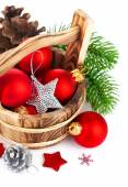 Christmas balls with branch firtree and silvery star — Stock Photo
