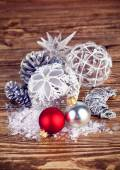 Christmas balls with tinsel and snow — Stock Photo