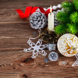 Branch of Christmas tree with balls — Stock Photo #58336183