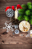 Branch of Christmas tree with balls — Стоковое фото