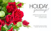 Bunch red roses greeting card — Stock Photo