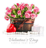 Bunch pink roses with gift to day saint valentine — Stock Photo