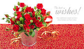 Bunch red roses in bucket postcard — Stock Photo