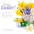 Easter eggs with spring flowers in basket — Stock Photo #65455453