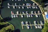 Boats in little port, aerial view — Stockfoto