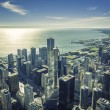 Sunrise over Chicago financial district- aerial view — Stock Photo #57040191
