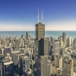 Sunrise over Chicago financial district- aerial view — Stock Photo #57040213
