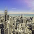 Sunrise over Chicago financial district- aerial view — Stock Photo #57040217