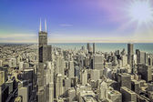 Sunrise over Chicago financial district- aerial view — ストック写真
