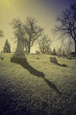 Old cemetery - vintage look with sun light — Stock fotografie