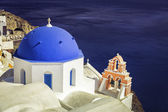 Santorini Island scene with  blue dome churches, Greece — Stock fotografie