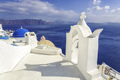 White roofs with chimney in Santorini Island, Greece — Stock Photo