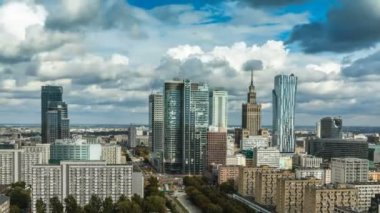 Warsaw Skyline City — Stock Video
