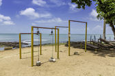 Outside gym on the beach — Stock Photo