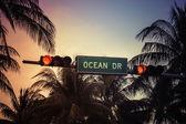 Ocean Drive sign in Miami Beach, Florida — Stock Photo