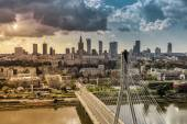 Warsaw skyline behind the bridge, Poland — Stock Photo