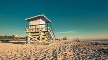 Lifeguard Hut in South Beach — Stock Video