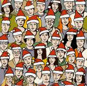 People in Santa hats seamless pattern — Stock vektor
