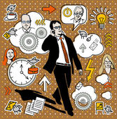 Businessman speak on the telephone — Stock Vector