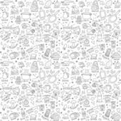 Cook objects doodles seamless pattern — Stock Vector