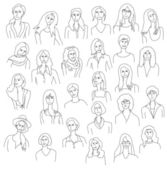 Line drawing group women set — Stock Vector