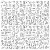 Seamless pattern with collection of icons — Stock Vector
