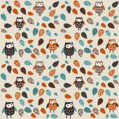 Seamless pattern owl and leaves — Stock Vector
