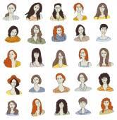 Women faces icons — Stock Vector