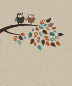 Owl family and leave — Vector de stock