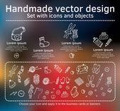 Set of handmade icons — Vector de stock