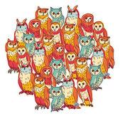 Funny owls birds — Stock Vector