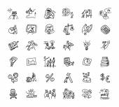 Doodles business icons — Stock Vector