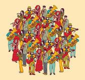 Crowd musicians figures — Stock Vector
