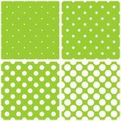 Tile vector pattern set with white polka dots on fresh green background — Stock Vector